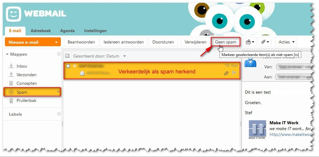 Valse spam aanduiden in Telenet webmaim